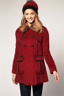 ASOS Collection Asos Coat with Faux Fur Collar and Faux Leather Trim - Lyst