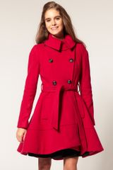 Asos Collection Premium Belted Coat in Red - Lyst