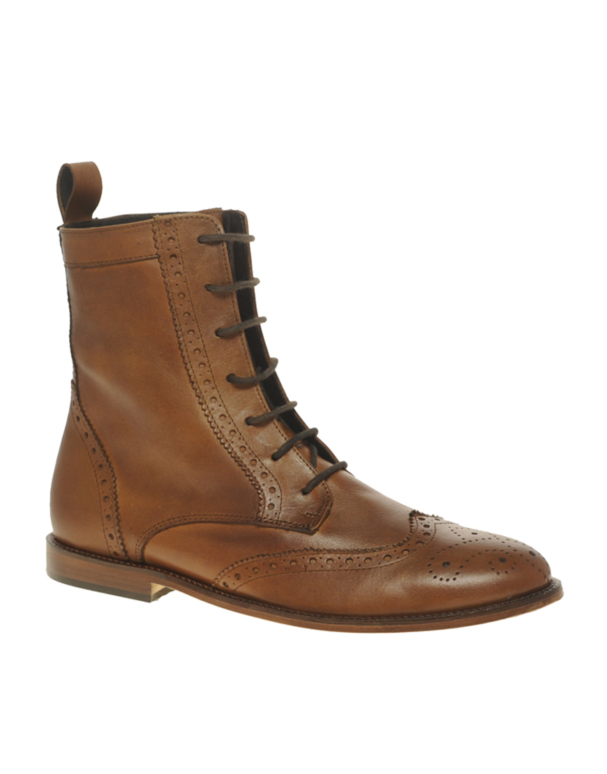 asos asos leather sole brogue boots in brown for