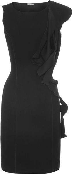 Bottega Veneta Side Ruffle Dress in Black - Lyst