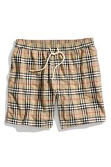 Burberry Check Print Swim Trunks - Lyst