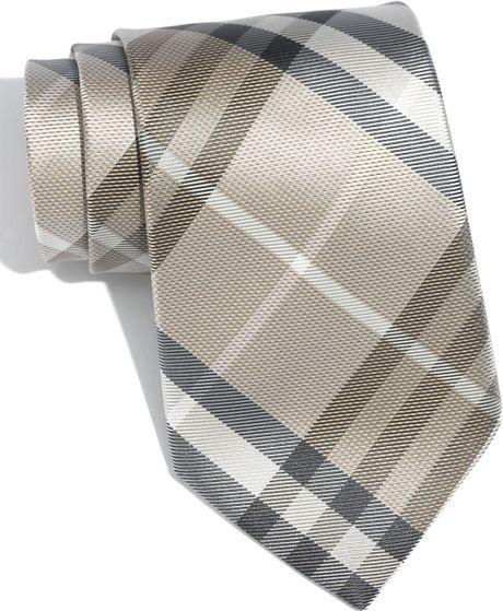 burberry regent woven silk tie in beige for