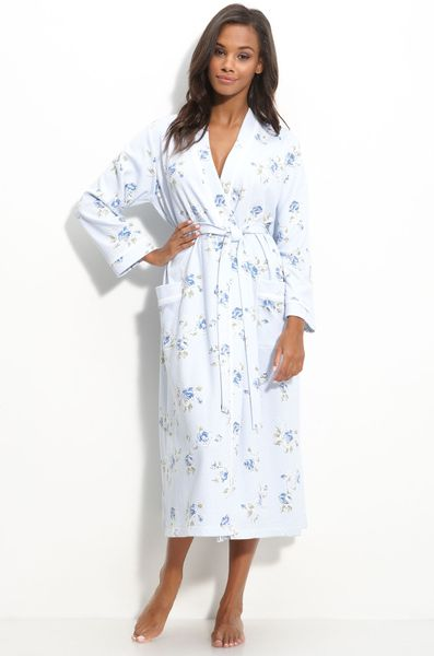 Carole Hochman Designs Quilted Knit Robe in White (winter garden roses) - Lyst
