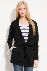 Caslon® Belted French Terry Jacket - Lyst