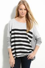 Caslon® Button Back Stripe Sweater in Gray (black stripe) - Lyst