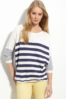 Caslon® Button Back Stripe Sweater - Lyst