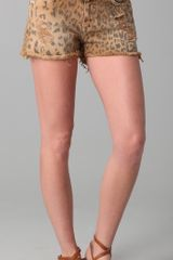 Current/Elliott Boyfriend Leopard Print Shorts - Lyst