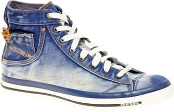 Diesel Expoiak Denim Hi Top Trainers - Lyst