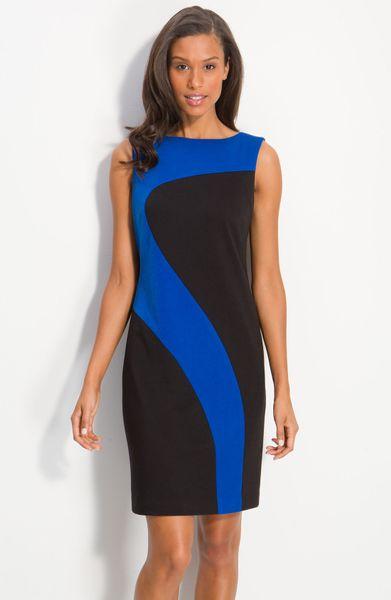 Donna Morgan Sleeveless Colorblock Shift Dress In Blue