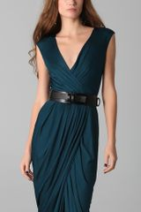 Doo. Ri Long V Neck Dress with Belt in Blue (teal) - Lyst