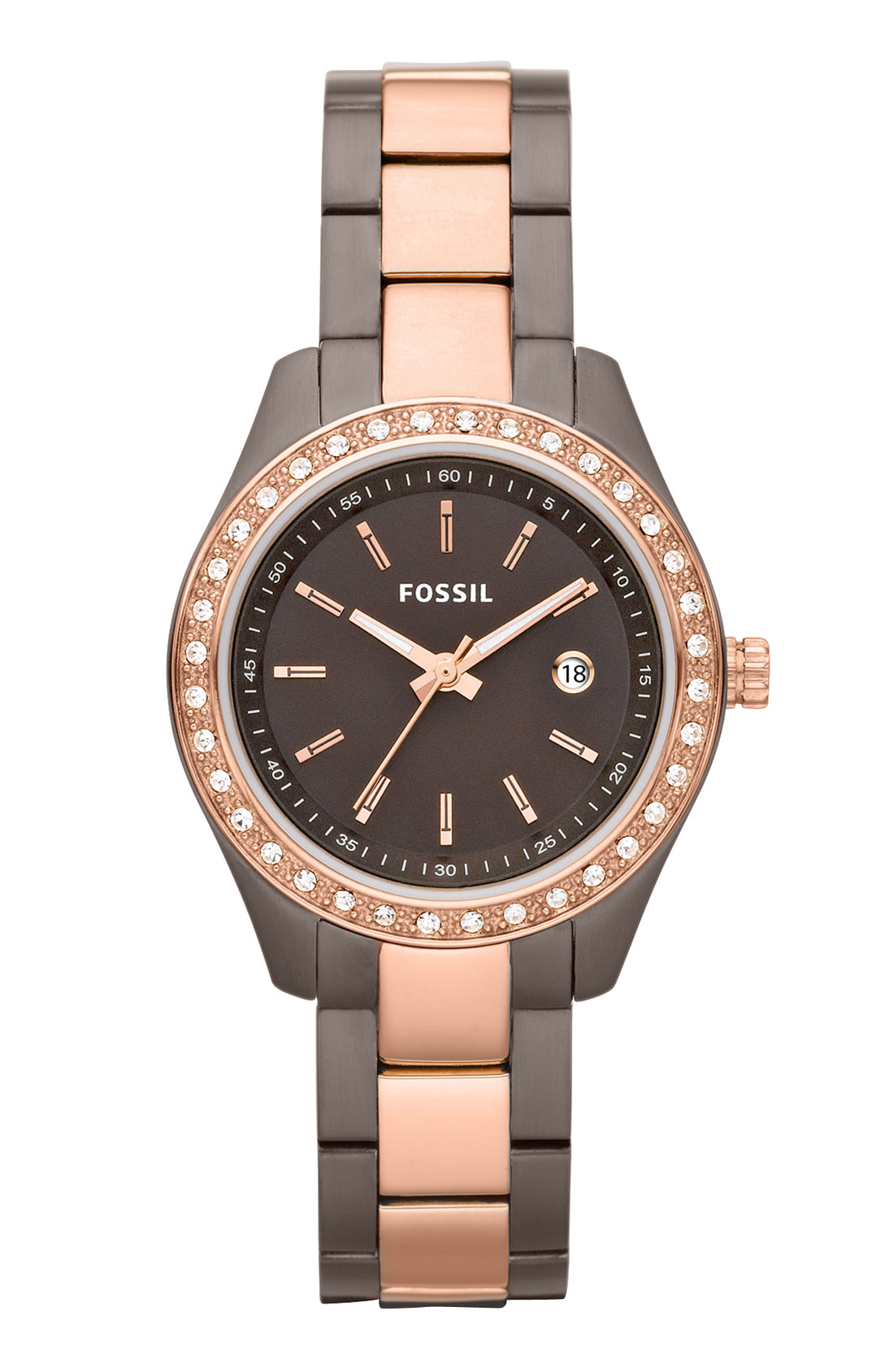 fossil mini stella crystal 2 tone bracelet watch in pink rose gold brown lyst. Black Bedroom Furniture Sets. Home Design Ideas