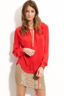 Haute Hippie Tie Neck Silk Blouse - Lyst
