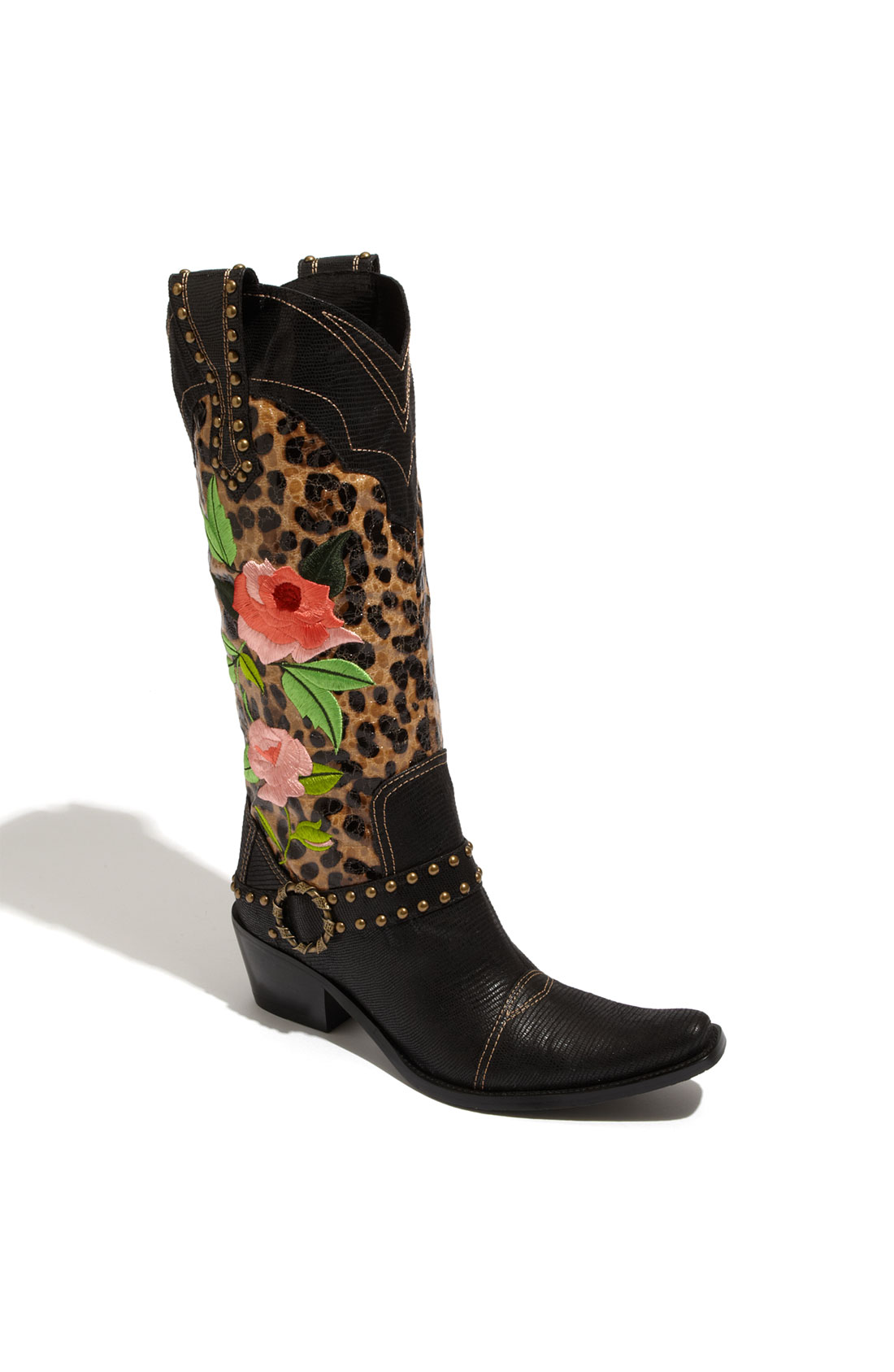 j rene 233 dakota boot in black leopard black lyst