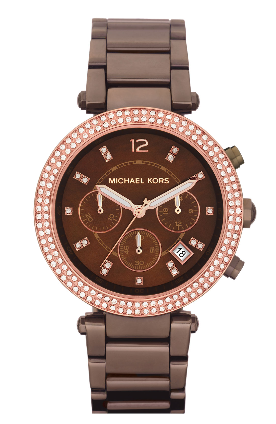 Michael michael kors michael kors crystal bezel chronograph watch in brown lyst for Watches michael kors