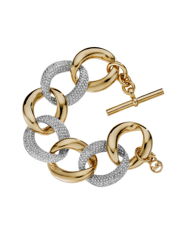 michael kors pave link bracelet golden in gold one size