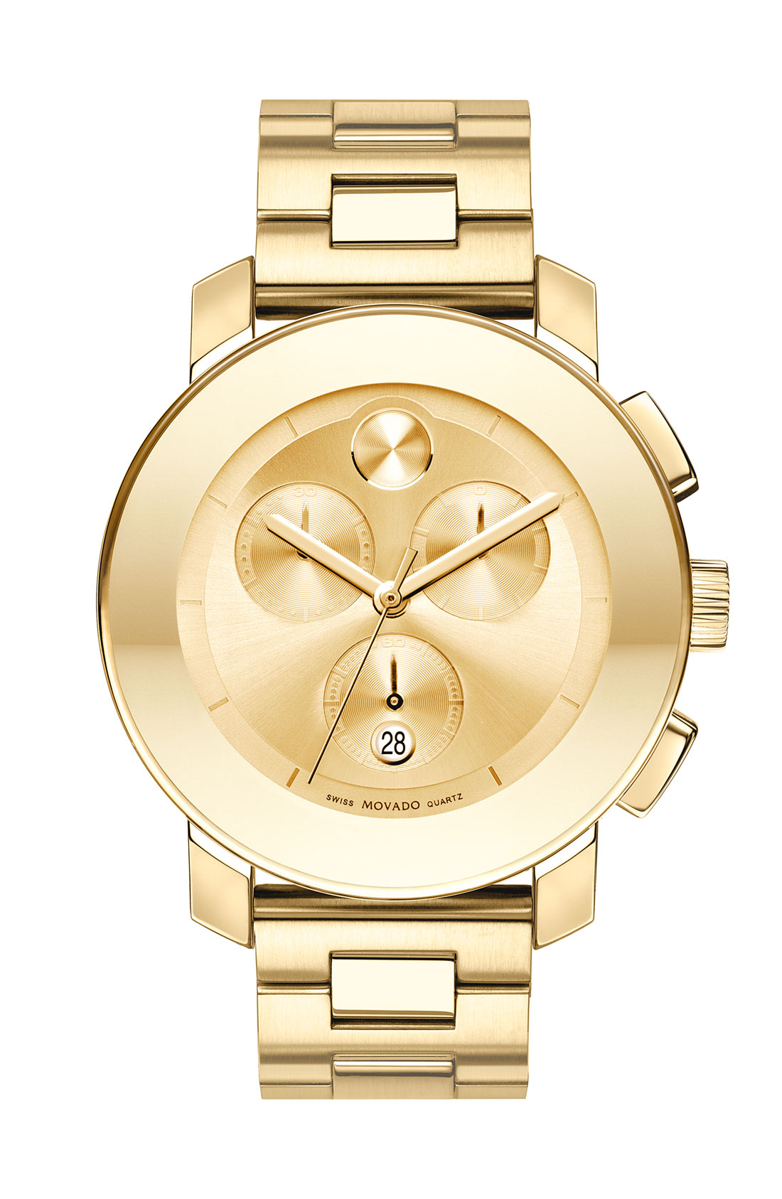 Movado bold chronograph bracelet watch in gold lyst for Watches gold