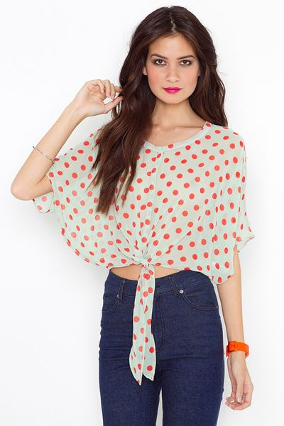 Nasty Gal Tied Dot Blouse in Beige (red) - Lyst