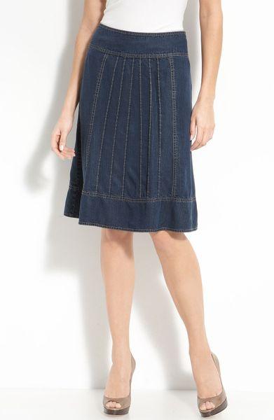 Nic + Zoe Pintuck Pleat Denim Skirt in Blue (indigo blue)
