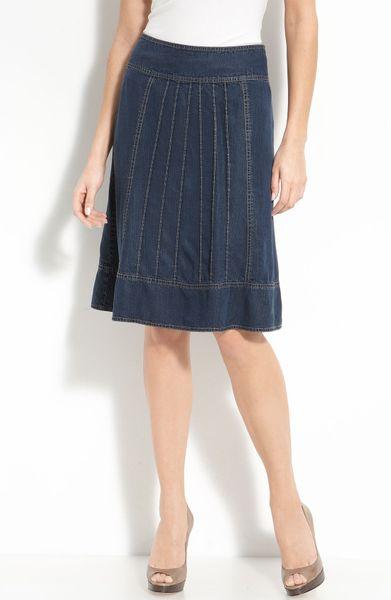 Nic + Zoe Pintuck Pleat Denim Skirt in Blue (indigo blue)