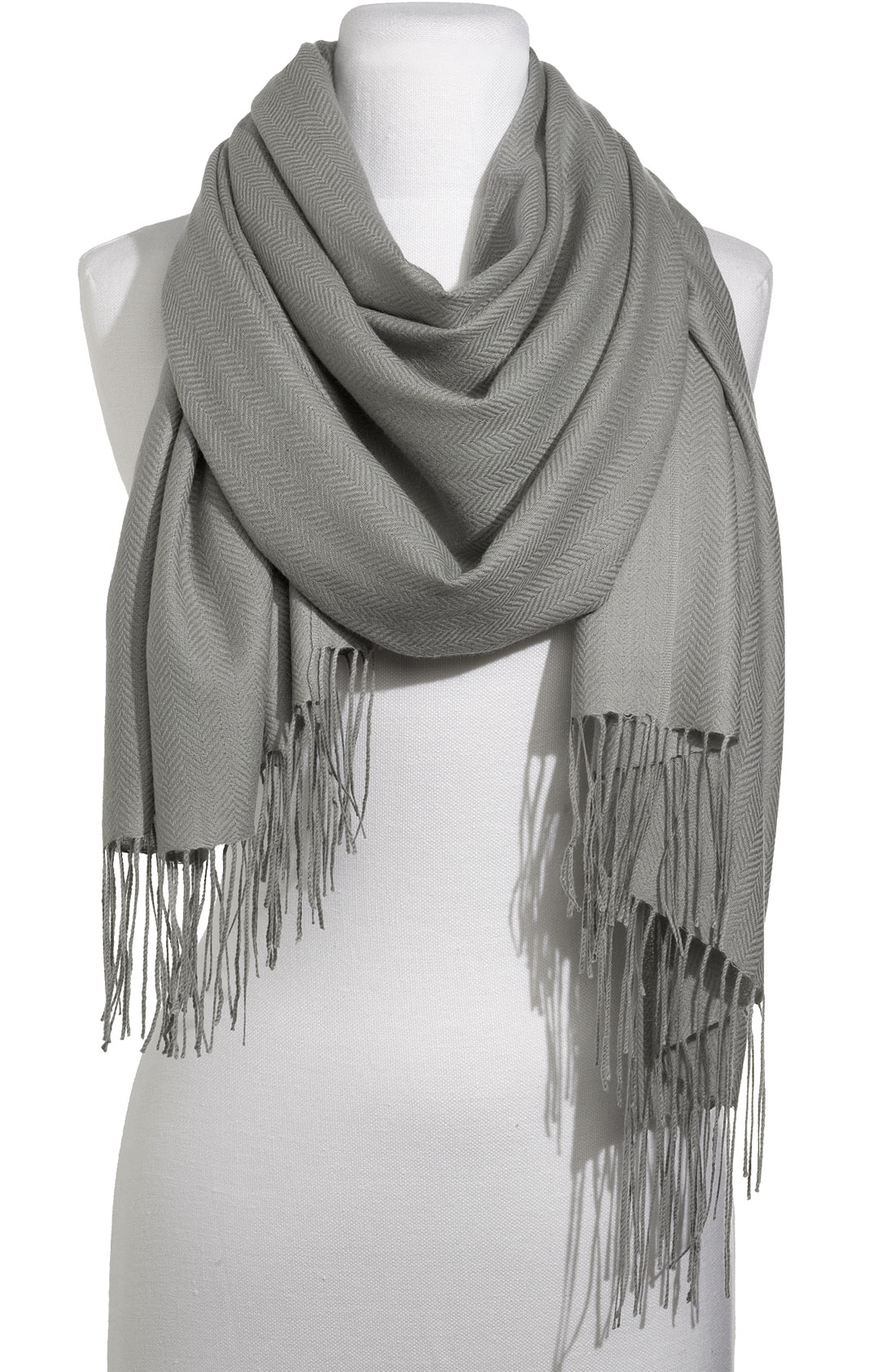 nordstrom collection herringbone scarf in gray