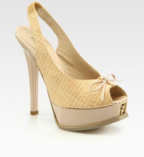 Fendi Sta Woven Straw Peep Toe Slingback Platform Pumps in Yellow (nude) - Lyst