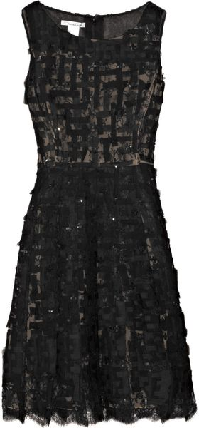 Oscar de la Renta Sequined Chiffon and Chantilly Lace Dress - Lyst
