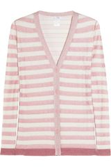 Oscar de la Renta Striped Silk-blend Cardigan - Lyst