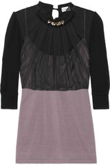 Philosophy di Alberta Ferretti Embellished Silk and Knitted-wool Sweater - Lyst