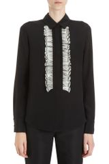 Prabal Gurung Feather Placket Top - Lyst