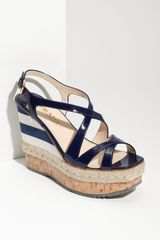 Prada Striped Platform Wedge Sandal - Lyst
