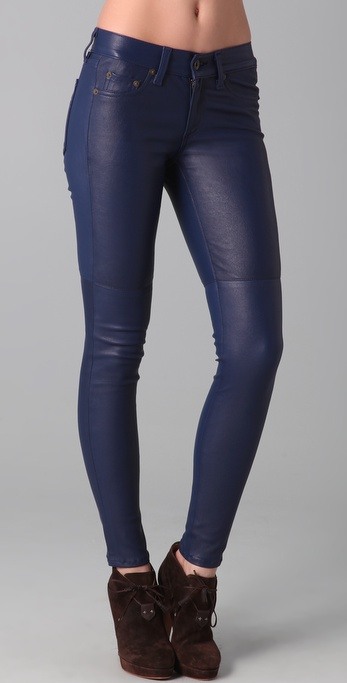 Rag & bone The Skinny Leather Pants in Blue | Lyst