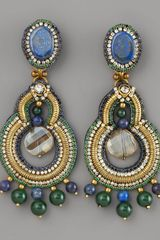 Ranjana Khan Lapis & Crystal Chandelier Earrings
