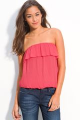 Soprano Pleated Strapless Chiffon Top - Lyst