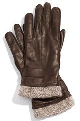 Tarnish Knit Cuff Leather Gloves - Lyst