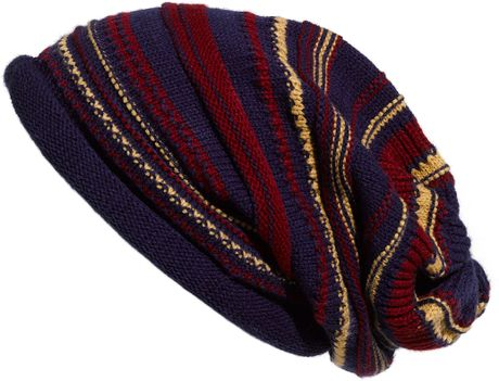 Tarnish Folk Knit Slouchy Cap in Blue (navy eclipse)