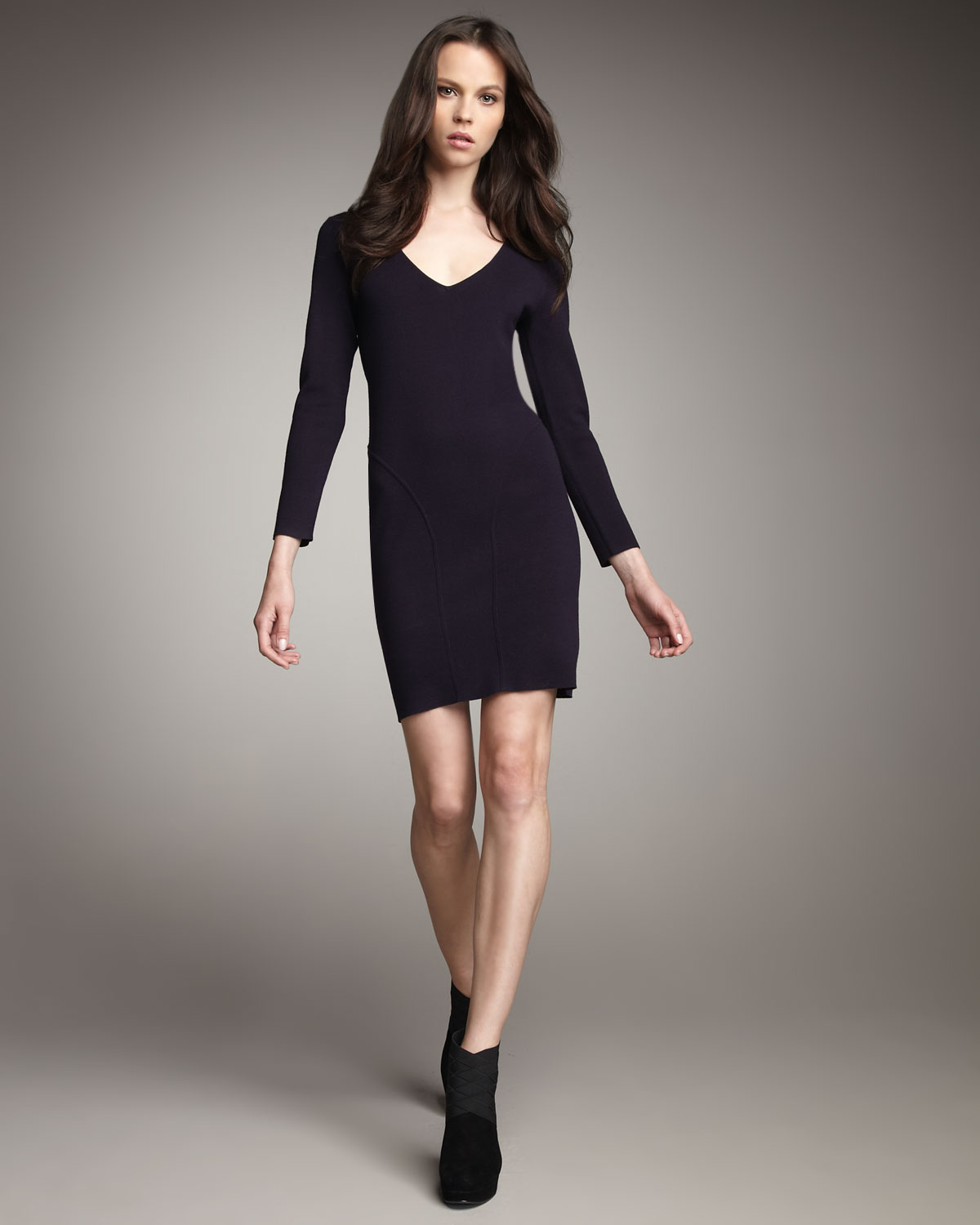 Theory Long Sleeve Fitted Dress In Purple Eggplant Lyst