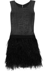 Theory Caliay Polymembrane Brushedsatin and Feather Dress in Black (gray) - Lyst