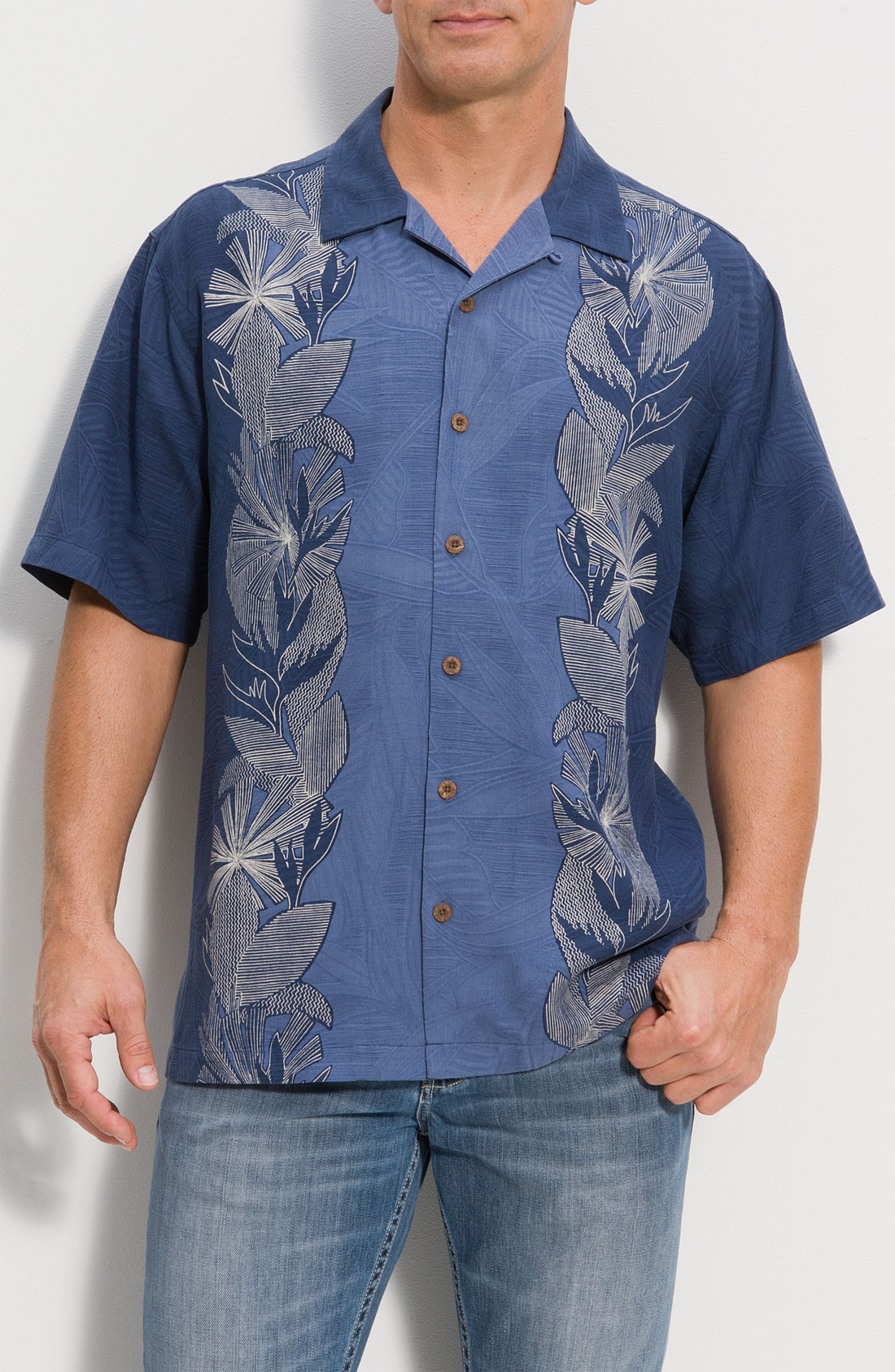 Tommy bahama deco the halls embroidered silk campshirt in for Tommy bahama embroidered silk camp shirt