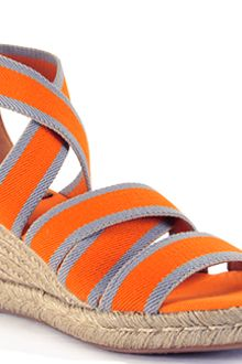 Tory Burch Orange Canvas Espadrille Wedge Sandal - Lyst