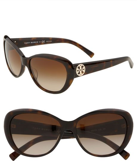 Tory Burch Cats Eye Sunglasses in Brown (tortoise) - Lyst