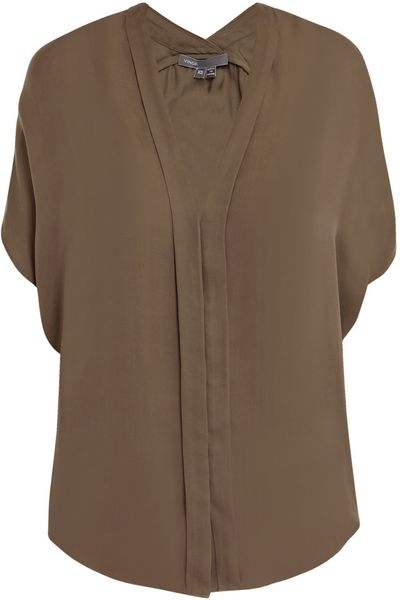 Vince Washed Silk Blouse in Brown (taupe) - Lyst