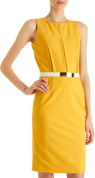 Fendi Pintuck Sheath Dress in Yellow