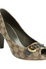 Gucci Military Gg Canvas Gg Running Peep Toe Pumps - Lyst