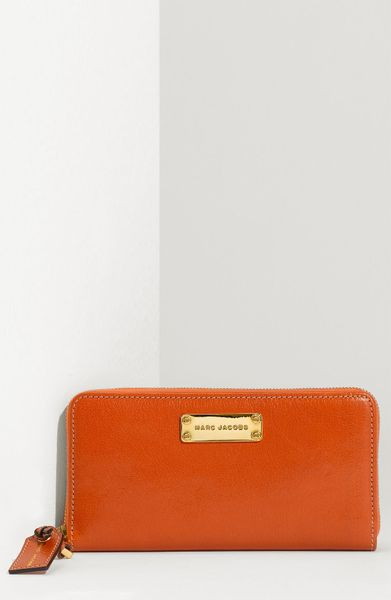 Marc Jacobs Wellington Deluxe Goatskin Wallet in Brown (pumpkin) - Lyst