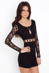 Nasty Gal Lattice Lace Dress - Black - Lyst