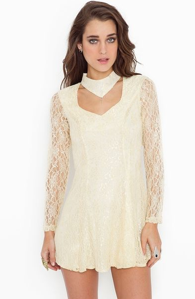 Nasty Gal Lace Choker Dress in Beige (ivory)