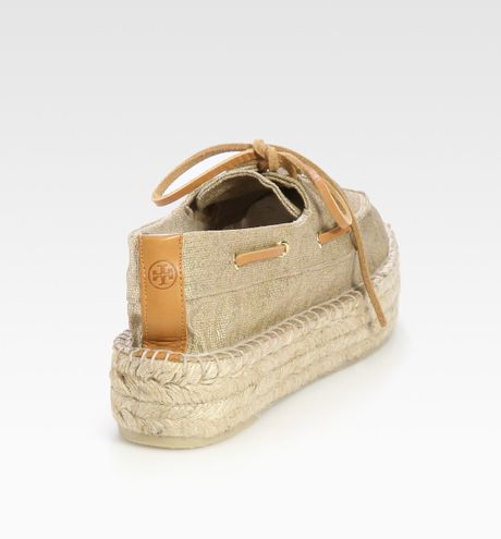 Tory Burch Metallic Linen Espadrille Boat Shoes In Gold Lyst