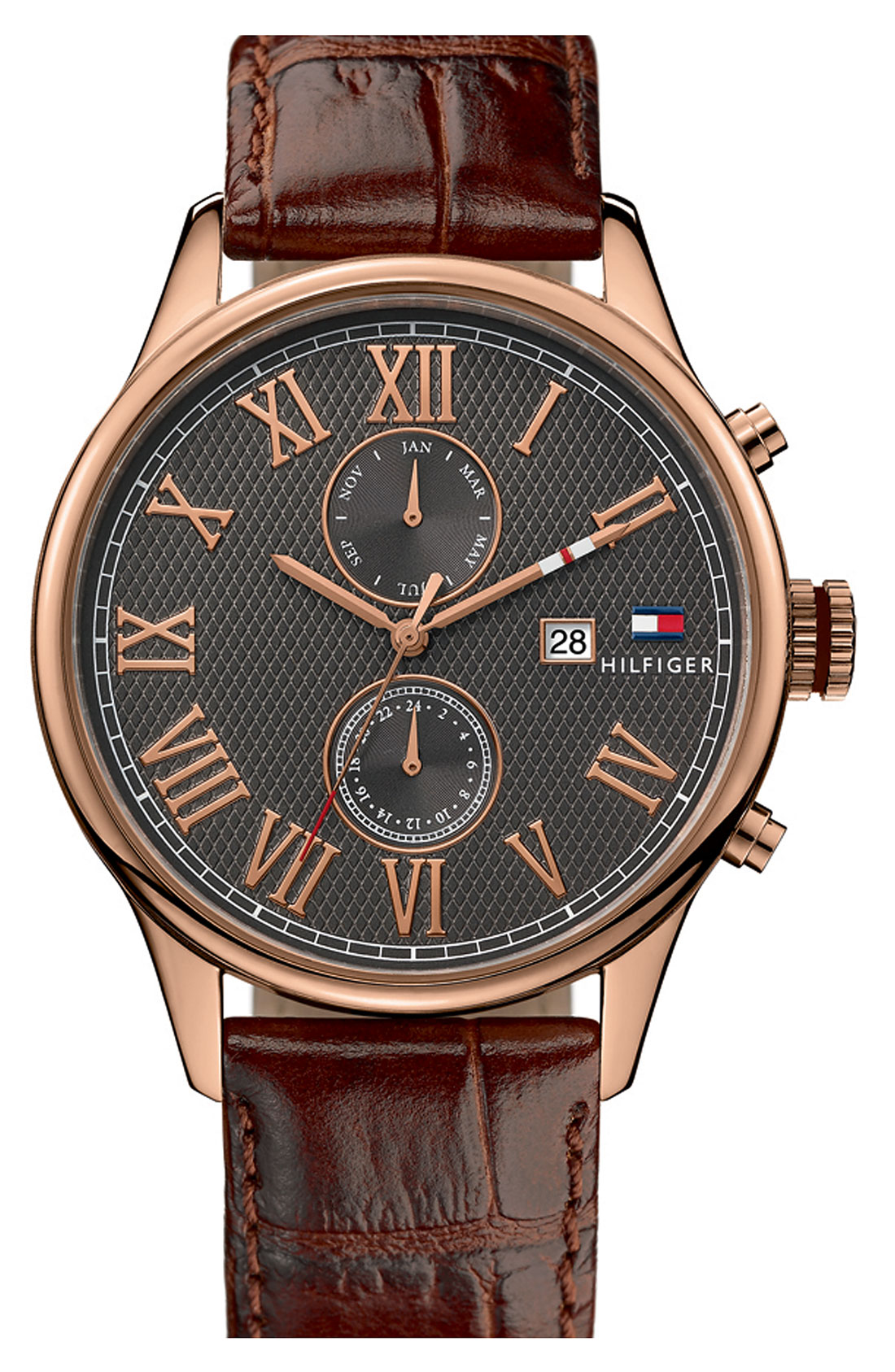 lyst tommy hilfiger multi eye leather strap watch in brown for men. Black Bedroom Furniture Sets. Home Design Ideas