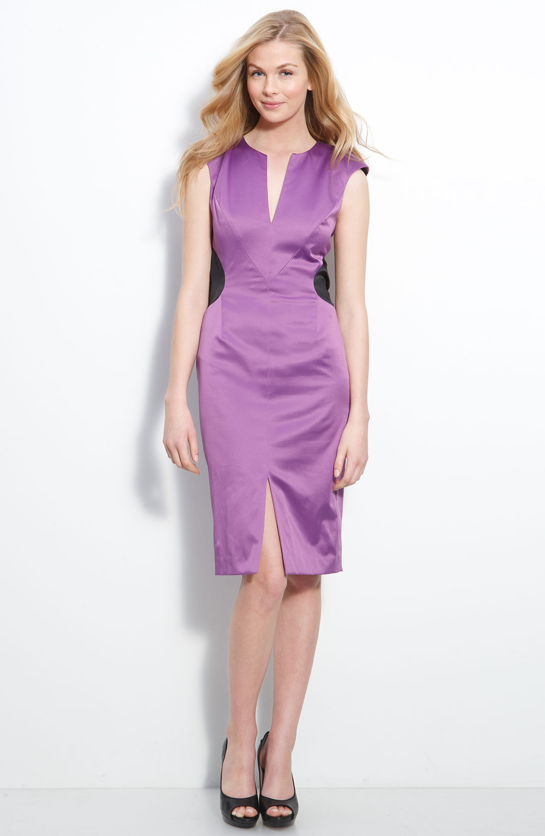Black Halo Suki Open Back Stretch Satin Dress In Purple
