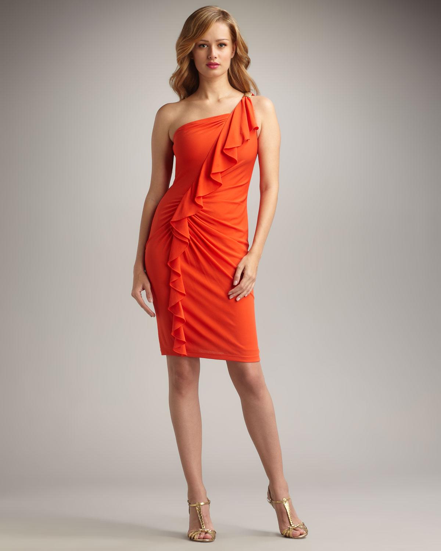 David meister One-shoulder Ruffled Cocktail Dress in Orange   Lyst